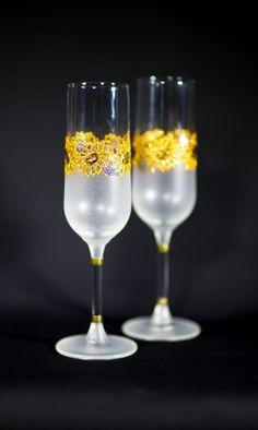 Wedding Champagne Flutes Golden Sunflowers Hand by PaulaxDesigns, £25.00