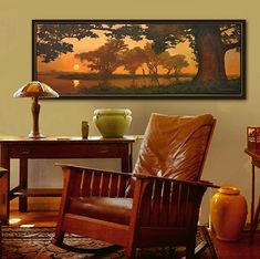 "Items similar to Mission Arts and Crafts CRAFTSMAN - Matted Giclee Fine Art Print ""Brilliance"" Sunset by Jan Schmuckal on Etsy Arts And Crafts Furniture, Arts And Crafts House, Home Crafts, Furniture Design, Craftsman Decor, Craftsman Style, Craftsman Homes, Craftsman Interior, Craftsman Artwork"