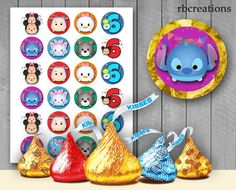 Tsum Tsum Hershey Kiss Stickers for Birthday Party by rbcreation