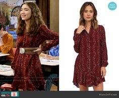 Riley's red floral long sleeved button front dress on Girl Meets World.  Outfit Details: https://wornontv.net/58112/ #GirlMeetsWorld  Buy it here: http://wornon.tv/36456