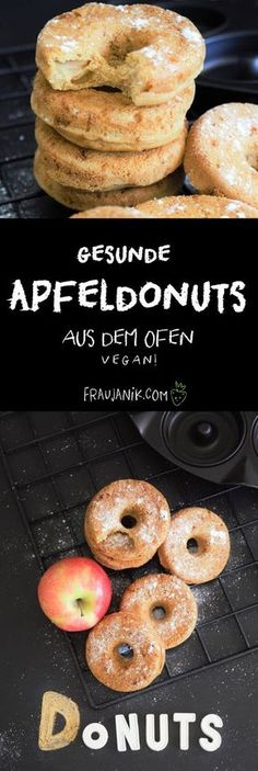healthy apple donuts muffin recipes without yeast dough, little fat and sugar & . - healthy apple donuts muffin recipes Without yeast dough, little fat and sugar & vegan … Th - Vegan Sweets, Healthy Sweets, Healthy Baking, Baking Recipes, Vegan Recipes, Dessert Recipes, Muffin Recipes, Cake Vegan, Desserts Sains