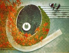 The landscape architects at Michael Van Valkenburgh Associates worked with sculptor Martin Puryear to design this courtyard at the New School University. The courtyard includes a spiral ramp that provides wheelchair access to the terrace.