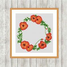 Modern Cross Stitch Pattern   Poppy Art Wreath on Craftsuprint - View Now!