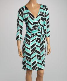 Look at this #zulilyfind! Mint Geometric Ruched Wrap Dress by AA Studio #zulilyfinds