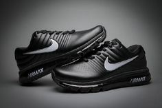 Hot Nike Air Max 2017 Leather Black White Logo Sneakers