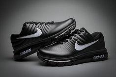 watch 901b6 3076f Hot Nike Air Max 2017 Leather Black White Logo Sneakers Venta De Zapatos,  Tenis,