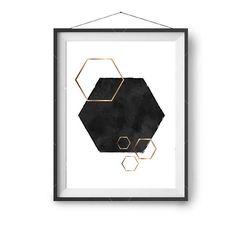 Black White Copper Art, Scandinavian Print, Art Prints, Watercolor Art, Abstract Print, Modern Home Decor, Geometric Art, Hexagon Printable