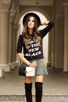 FashionCoolture - 28.03.2016 look du jour black and white over knee boots outfit winter (4)