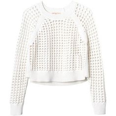 Rebecca Taylor Long Sleeve Open Lattice Sweater
