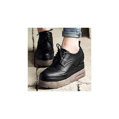 Lace-Up Platform Brogue Shoes (85 AUD) ❤ liked on Polyvore featuring shoes, oxfords, footware, camel shoes, lace up oxfords, laced up shoes, high heel platform shoes and brogue shoes
