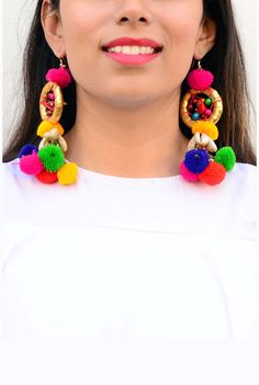 Multicolor Parrot Dreamcatcher Pom Pom Earrings #Earrings #Multicolor #PomPom…