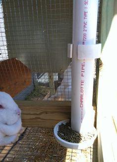 Homemade rabbit feeder-for meat rabbits Rabbit Farm, Rabbit Life, House Rabbit, Raising Rabbits For Meat, Meat Rabbits, Bunny Cages, Rabbit Cages, Rabbit Feeder, Rabbit Enclosure