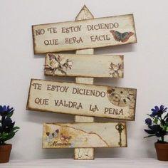 Tablas de Madera Decoradas Wood Crafts, Diy And Crafts, Diy Y Manualidades, Foto Transfer, Decoupage Vintage, Ideas Decoupage, Stencil Painting, Garden Art, Wood Art