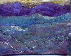 sunrise landscape in wool felt