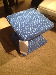 High Point Market Spring 2012-I'm Crazy about this new ottoman from Hickory Chair in the new Cobalt print from the Hable Sisters.