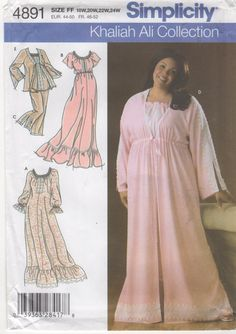 Simplicity 4891 Beautiful Womens Nightgown Pajamas Robe Bed Jacket Sewing pattern Khaliah Ali by mbchills