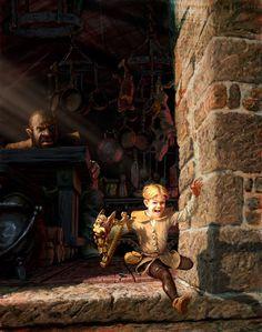 "children's fairytale ~ Jack & the Beanstalk ~ ""Jack the Giant Killer"" illlustration by Chris Beatrice"