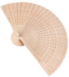 "Folding Fan, Natural Wood With Intricate Carving 8"" x 13"" - 12 Pcs"