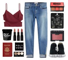 Cutout Crop Top by for-the-love-of-pink on Polyvore featuring polyvore, fashion, style, Frame, H&M, Converse, Topshop, Smashbox, Bobbi Brown Cosmetics, NARS Cosmetics, Passport and clothing
