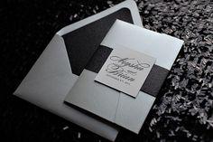 Letterpress Wedding Invitation in Pocket Folder, black and white wedding invitation, glitter wedding invitation, silver invitation