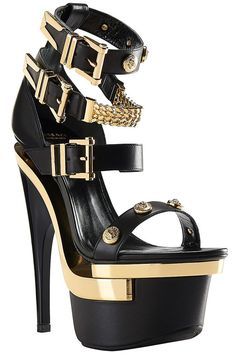 86a18ef48815 View this item and discover similar heels for sale at - VERSACE Studded  platform sandals Three ankle buckles