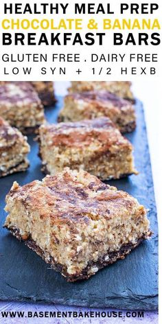 These Healthy Meal Prep Chocolate & Banana Breakfast Bars are gluten free, dairy free AND low syn on Slimming World! They're a delicious meal prepped breakfast recipe and are low fat, low sugar and delicious! Healthy Meal Prep, Healthy Breakfast Recipes, Healthy Recipes, Healthy Snacks, Banana Breakfast, Breakfast Bars, Syn Free Breakfast, Breakfast Smoothies, Sweet Potato Spinach