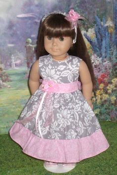 Pink and Grey Damask Party Dress for American Girl