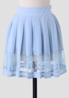 Blue Lace Light As Air Pleated Skirt at Ruche $30