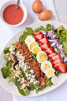 Strawberry Cobb Salad with Strawberry Bacon Vinaigrette | 27 Delicious Paleo Recipes To Make This Summer
