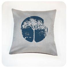 Tree Pillow Cover 16x16 Navy Blue Tree Screenprint by Boomerang360