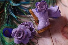 Lavender  Handmade Suede Boots and Accessory Set by Wwendalynne