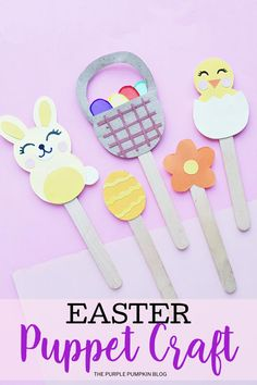 These Paper Easter Puppets are super cute and simple to make! Using a free printable template some construction paper and popsicle sticks you can make a set of five puppets including a sweet chick and bunny a basket of eggs a flower and an Easter egg! Puppet Crafts, Craft Stick Crafts, Easy Crafts, Purple Pumpkin, Easter Crafts For Kids, Easter Ideas, Easter Bunny Decorations, Easter Holidays, Construction Paper