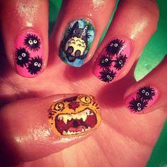 WAH GIRL KIM DID SOME SUPER CUTE CUSTOM STUDIO GHIBLI NAILS!!! #nails #nailart