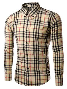 Coolred-Men Long Sleeve Plus-Size Vogue Buttoned Checkered Cotton Shirts