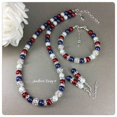 Red White and Blue Jewelry Set Patriotic Jewelry American Flag Jewelry Pearl Jewelry Patriotic Gift July USA Independence Day Cute Jewelry, Pearl Jewelry, Jewelry Sets, Jewelry Crafts, Jewelry Making, Beaded Earrings, Beaded Jewelry, Handmade Jewelry, Beaded Bracelets