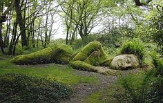 The Mud Maiden moss art at the Lost Garden of Heligan in Cornall, England