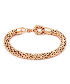 Loving this Rose Gold Popcorn Mesh Bracelet on #zulily! #zulilyfinds