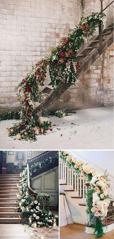 Decoración de escaleras en las bodas eucalipto madera flores