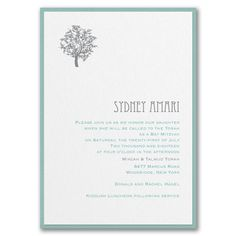 Designer Mitzvah - Invitation with Backer - White Shimmer. Available at Persnickety Invitation Studio.