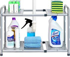 Under-sink cabinets are a hotbed for chaos, lost cleaning products, and spills that you don't remember happening. But you can tame the disorder of your under-sink cabinet with the help of an organizer. Kitchen Sink Organization, Sink Organizer, Kitchen Storage, Storage Spaces, Organization Ideas, Organized Kitchen, Storage Ideas, Shelf Ideas, Kitchen Organizers