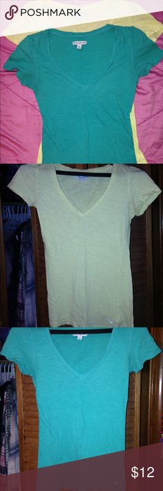 AEO v-neck bundle!! Two American Eagle v necks. One light yellow and the other teal. No rips or stains. Gently used. American Eagle Outfitters Tops Tees - Short Sleeve