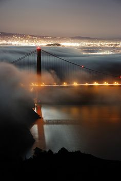 North tower revealed, Golden Gate Bridge, San Francisco, USA (by Tyler Westcott). So beautiful, this is how I remember the view from my friends house high up in the hills of San Francisco ❤ Places Around The World, Oh The Places You'll Go, Places To Travel, Places To Visit, Around The Worlds, Ponte Golden Gate, Golden Gate Bridge, Beautiful World, Beautiful Places