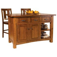 Solid Oak, Maple, Cherry and Quarter Sawn White Oak Islands are made in the USA. The Brunswick Island is made of solid wood and quality finishes.