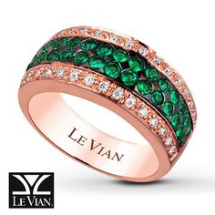 LeVian Natural Emeralds 1/4 ct tw Diamonds 14K Gold Ring.                              I WANT THIS ONE SO BAD!!!