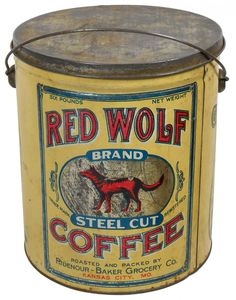 Red Wolf Vintage Tins, Vintage Coffee, Vintage Kitchen, Vintage Packaging, Coffee Packaging, Coffee Tin, Coffee Cafe, Spice Tins, Enamel Ware