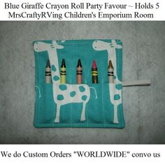 Blue Giraffe Crayon Holder Party Favour by MrsCraftyRVing on Etsy, $2.00