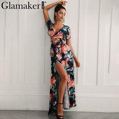 Floral women high slit long dress Printed maxi beach dress female Crop top  two piece set 253ef9efb78c