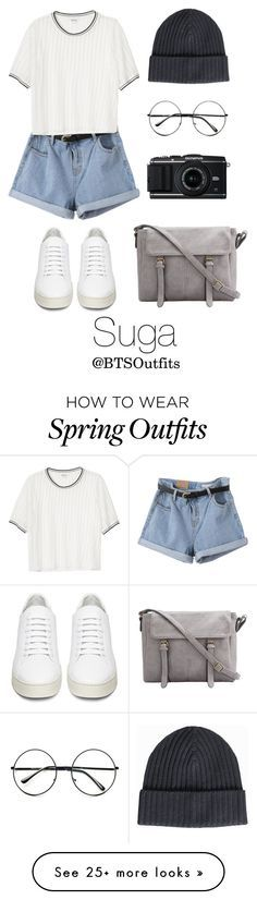 """Spring Outfit Inspired by Suga"" by btsoutfits on Polyvore featuring Monki, Off-White, Amanda Christensen, Retrò, women's clothing, women, female, woman, misses and juniors"