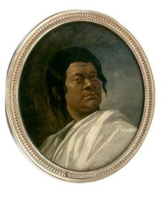 """Omai: a Polynesian/ Portrait  attributed to William Hodges, probably c.1775.  Omai, from Huahine near Tahiti was brought to England in 1774 by Lieutenant Tobias Furneaux. He met the Earl of Sandwich and was placed in the care of Joseph Banks, botanist and Solander, both of whom had visited Tahiti with Captain James Cook five years earlier. He was introduced into London society and presented to George III. In 1776/7 he returned to Huahine with Captain Cook. """"Age of Wonder"""" Ch. 1"""