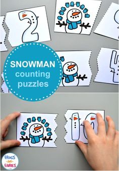 A fun way for kids to work on counting and number recognition this winter! Practice counting with these free snowman counting puzzles! Your kids can practice numbers with these simple two-piece puzzles! Snow Activities, Winter Activities For Kids, Winter Crafts For Kids, Toddler Activities, Winter Ideas, Preschool Winter, Preschool Themes, Kindergarten Activities, Preschool Math